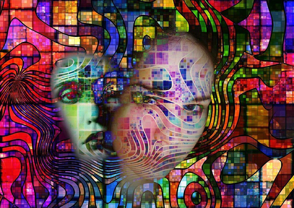 """""""Mein Auge sehnt sich aus dem Elend"""": Ein surrealistisches Bild einer Frau, deren Gesicht einmal klar, einmal verschwommen inmitten farbiger Phantasiegebilde dargestellt ist"""
