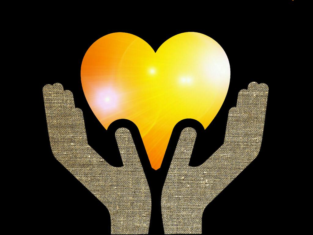 """""""Das ganze Gesetz ist in einem Wort erfüllt"""": Ein gelbrotes Herz wird von zwei erhobenen Händen umschlossen"""
