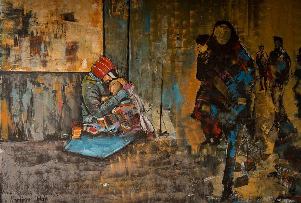 Sie vergaß ihre alten Kumpels nicht: Ein Graffito, das Menschen auf der Straße zeigt, die an einem Obdachlosen mit seinem Hund vorbeigehen