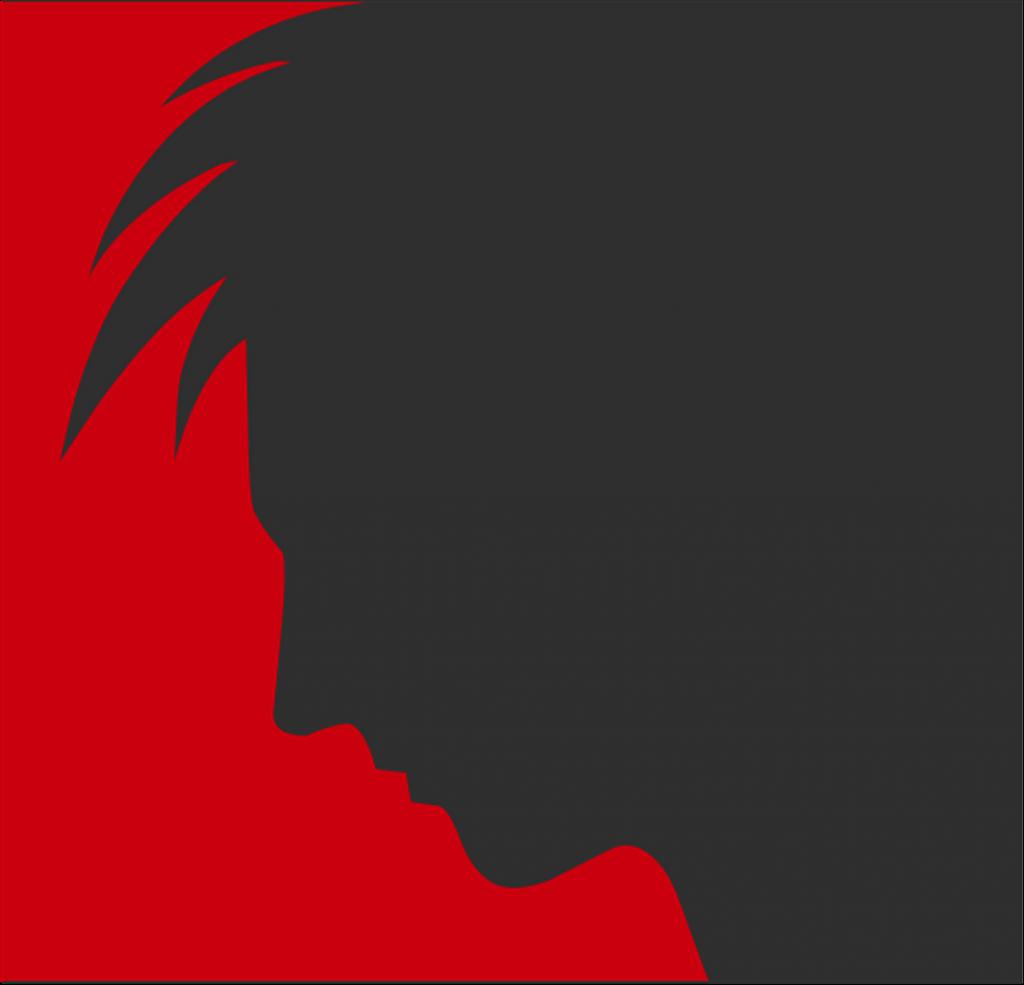 Jugend und schwarzes Haar sind flüchtig - Silhouette eines jungen Mannes mit vollen fransigen Haaren im Profil