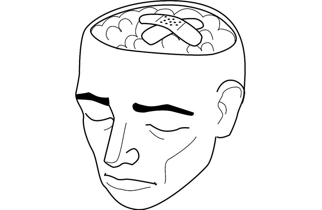 Stilisierte Zeichnung eines Kopfes mit offener Schädeldecke und Pflastern über dem Gehirn