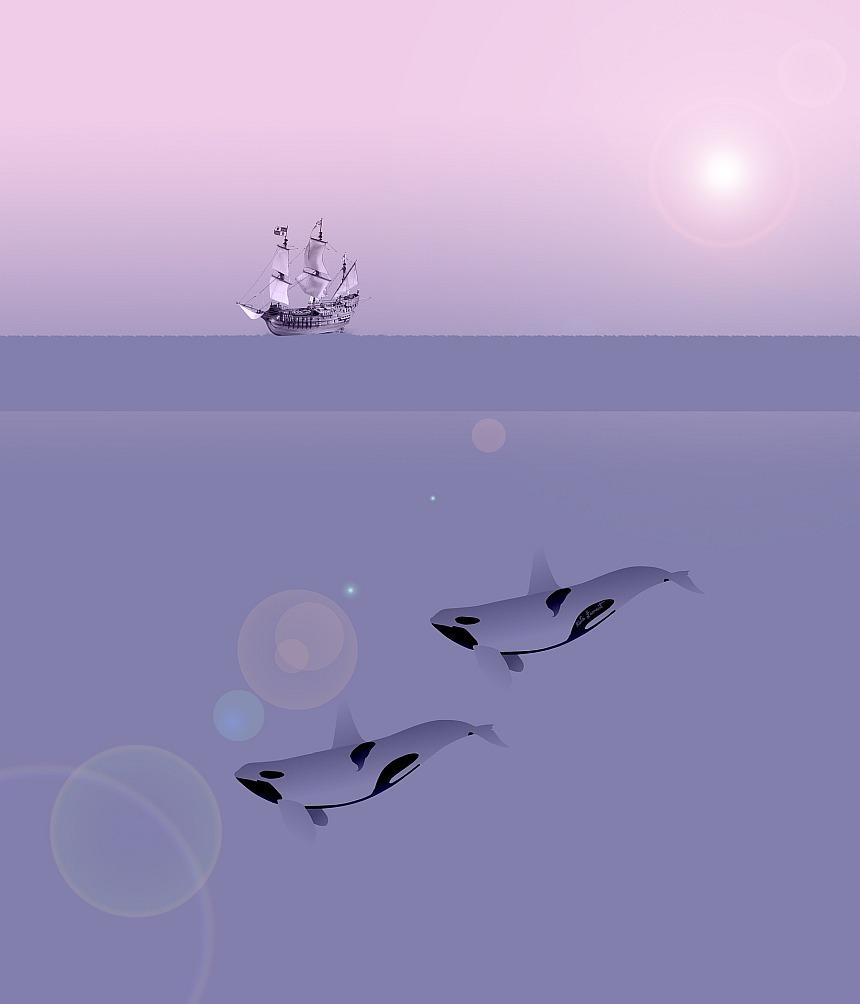 Gottes geordnete Welt: Ein Segelschiff auf dem Meer und zwei Wale unter dem Meeresspiegel, darüber die Sonne im Morgendunst