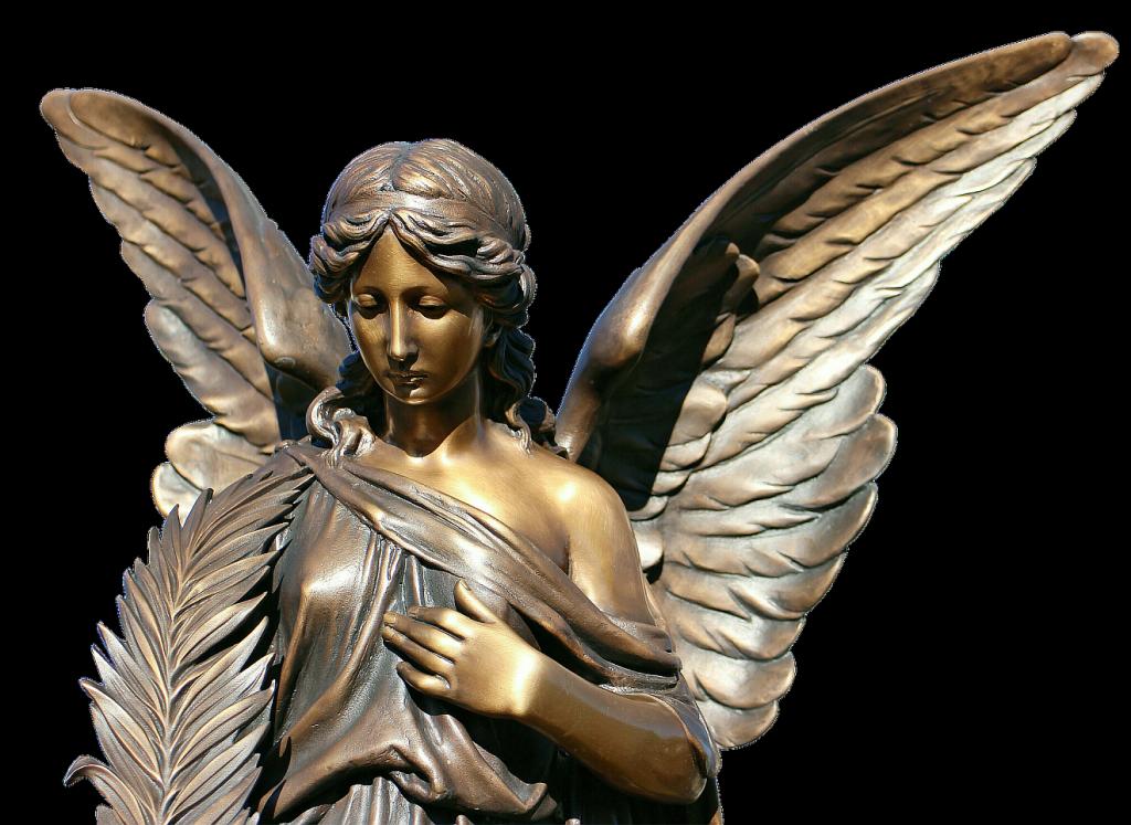 Die Engel erlauben ein Stück Distanz zu Gott: Statue eines ernsten weiblichen Engels