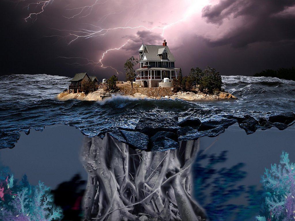 """""""Finsternis ist wie das Licht!"""" Ein Haus, umgeben von Wasser, Sturm und Gewitter; im Wasser spiegelt sich unter dem Haus ein Geflecht von Wurzeln"""
