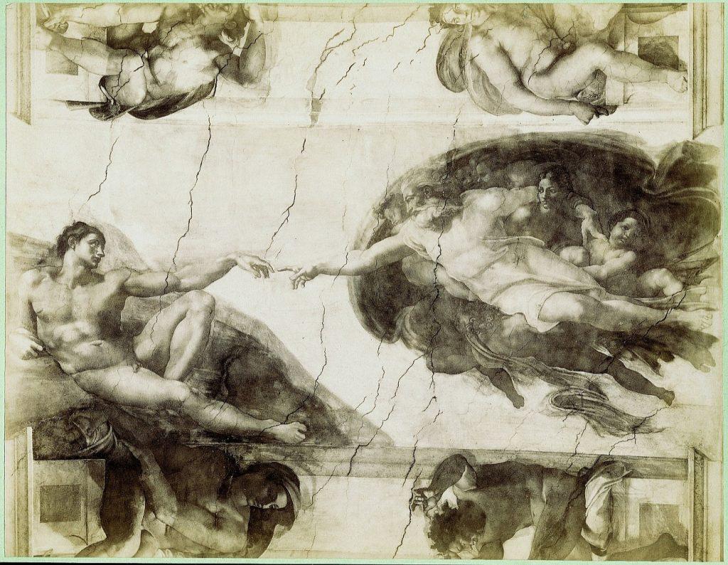 Wunderbare Geschöpfe eines liebenden Schöpfers: Schwarzweiß-Bild der Erschaffung Adams durch Gott von Michelangelo