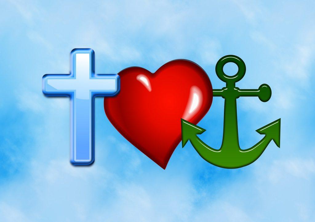 Kreuz, Herz und Anker als Symbol für Glaube, Liebe und Hoffnung