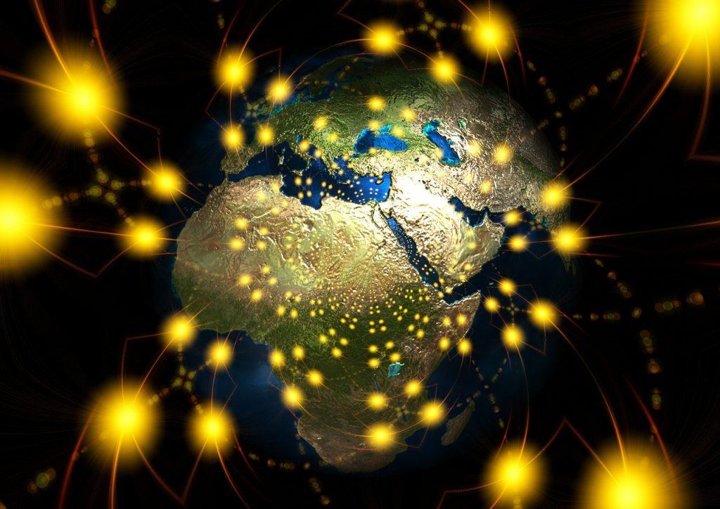 Strahlend leuchtende Lichter rund um den Globus