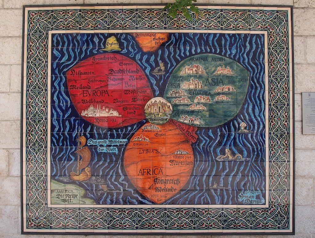 Weltkarte in Israel als Blume mit drei großen Blüten: Europa, Asien, Afrika - und Jerusalem als Mittelpunkt