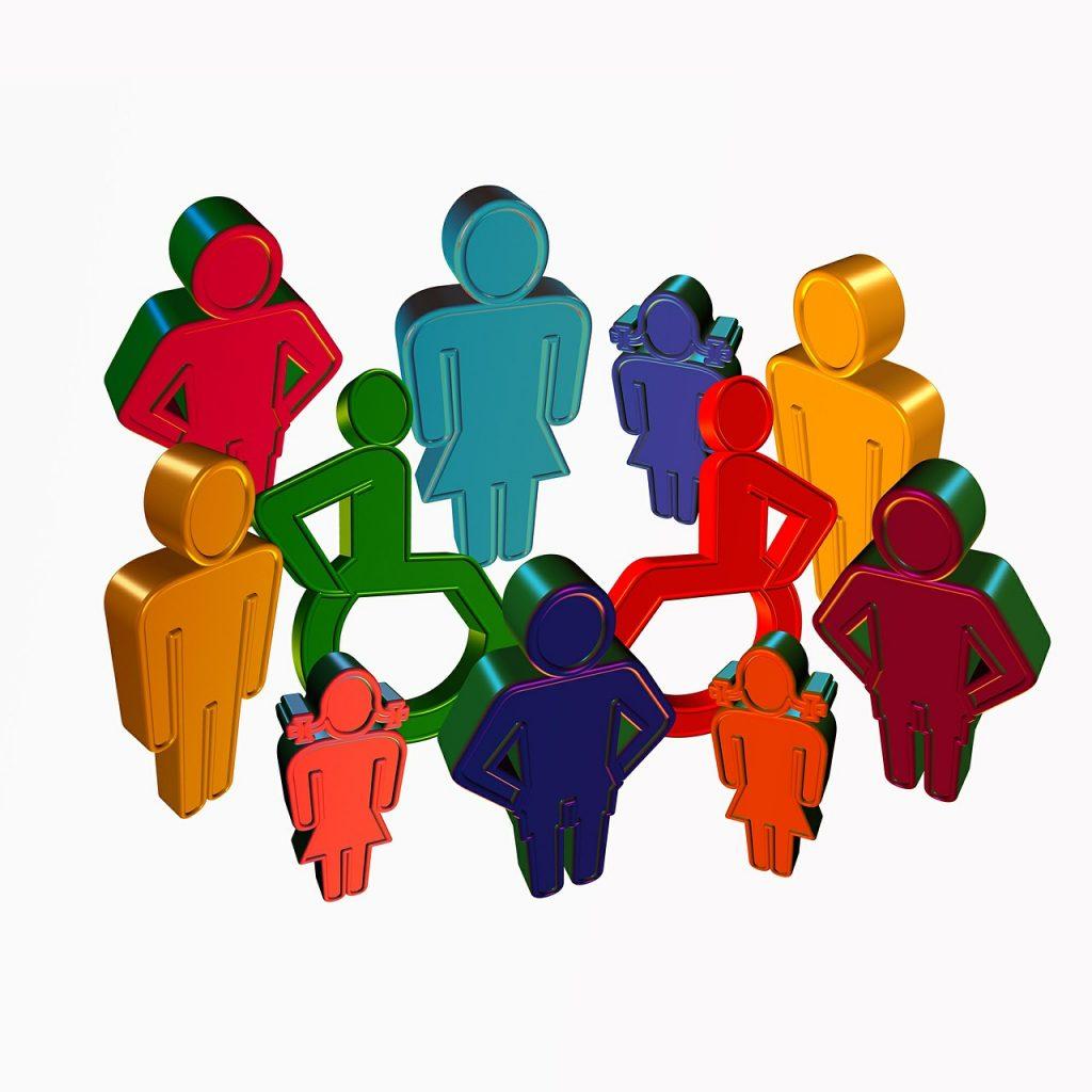 Gruppe mit Rollstuhlfahrern aus Logo-Figuren