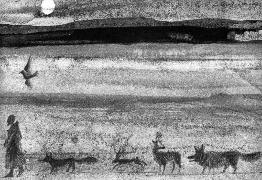 Franziskus mit den Tieren auf dem Weg zur Krippe