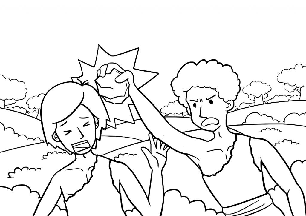 Das Bild ist eine Zeichnung von Kain, der seinen Bruder Abel mit einem Stein auf den Kopf schlägt.