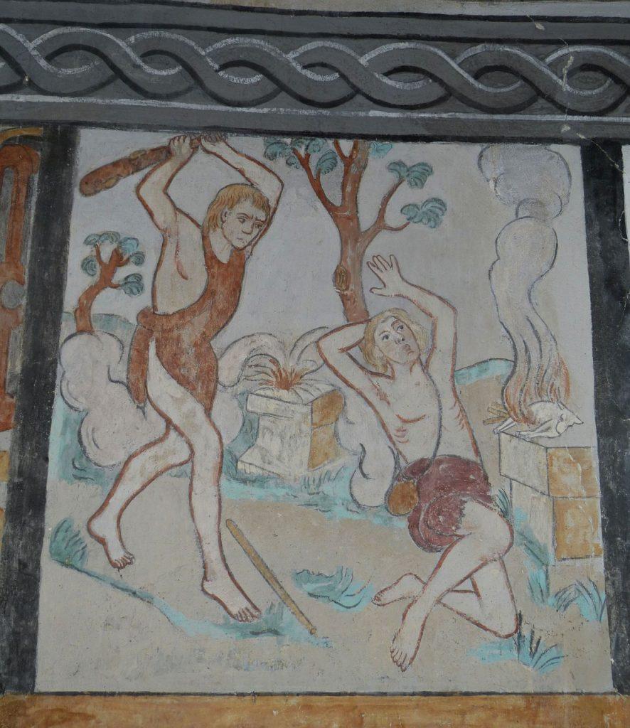 Brüderliche Menschheit? Kain erschlägt seinen Bruder Abel mit einer Keule in der Nähe ihrer beider Opferaltäre - auf einer farbigen Kachel dargestellt.