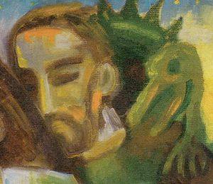 Auf der linken Schulter und im Nacken des Josef sitzt ein kleiner grüner Drache