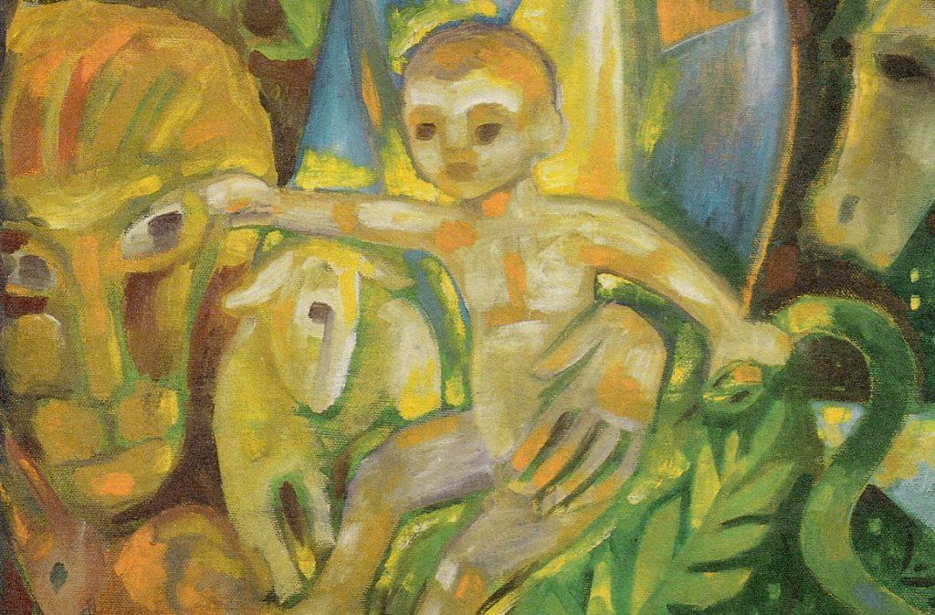 Das Jesuskind streckt seine Arme aus, zum Löwen und zur Schlange, und das Lamm ist unter seinem Arm, direkt neben dem Löwen, geborgen