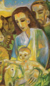 Das Jesuskind sitzt auf Marias Schoß, Josef stärkt ihr den Rücken