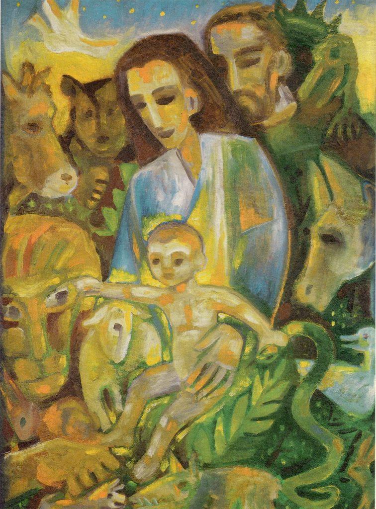 Das Bild zeigt Maria, Josef und ihr Kind Jesus inmitten von Tieren: Ochs, Esel, Bär, Löwe, Lamm, Schlange, Schwein (oder Hund?) und Wolf, sogar ein Drache sitzt dem Josef auf der Schulter