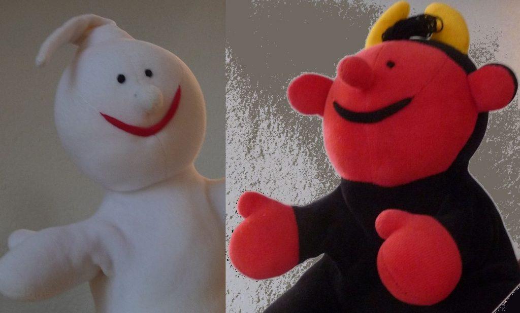 Die Handpuppen Gabi und Lutz - ein weißes Engelchen und ein schwarzrotes Teufelchen