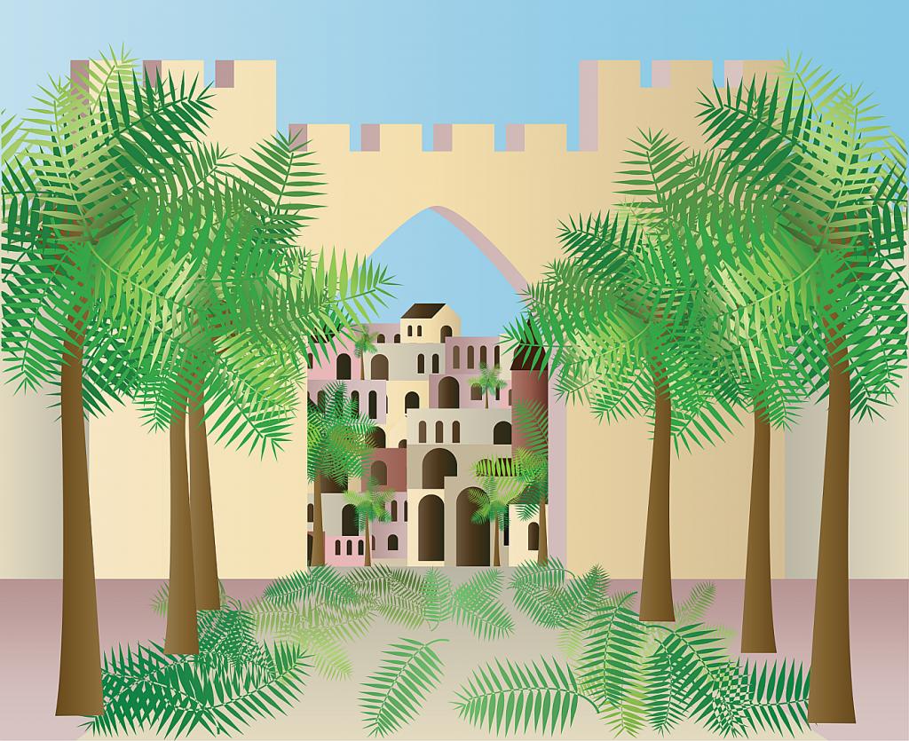 Gezeichnetes Bild von einem großen Tor Jerusalems, durch das man Häuser sieht; vor dem Tor rechts und links stehen Palmen, Palmzweige sind auf dem Weg ausgebreitet