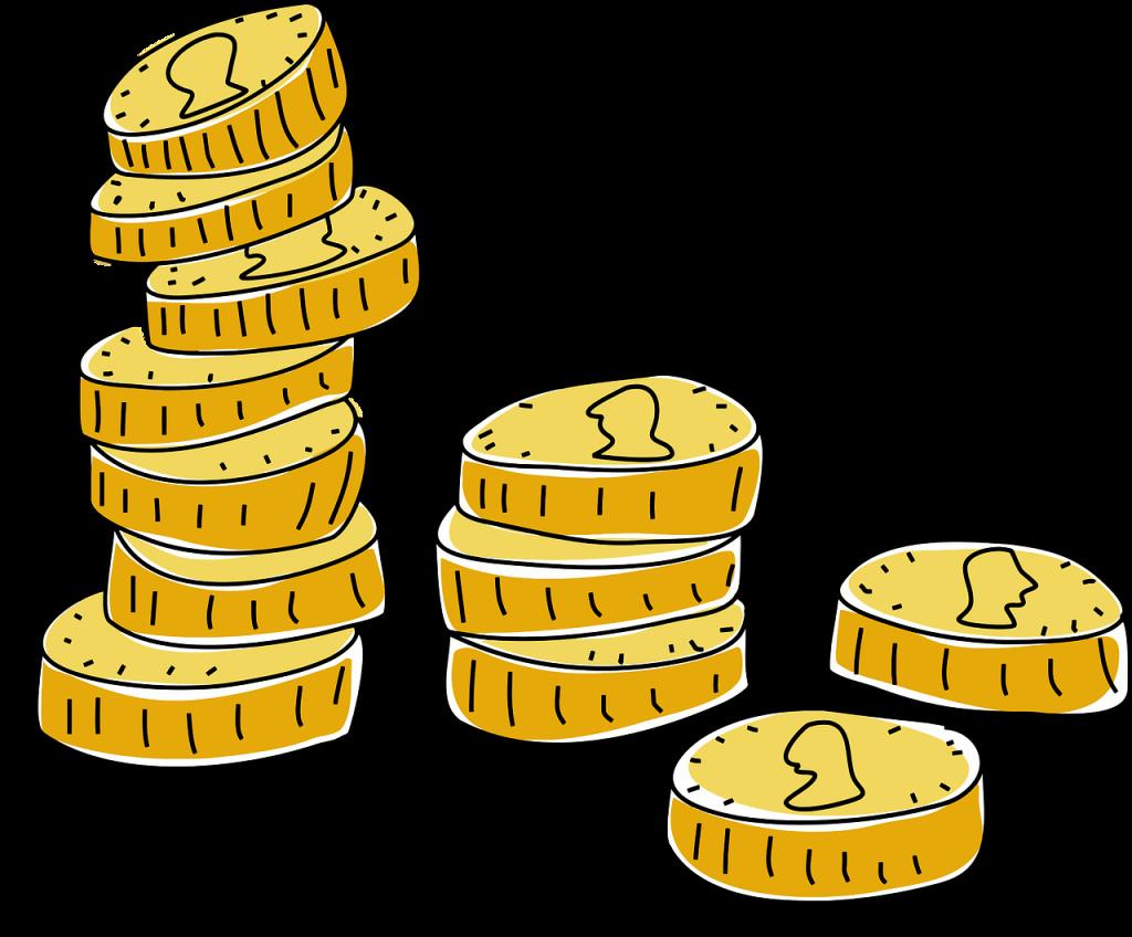 Münzen in mehreren unterschiedlich hohen Stapeln
