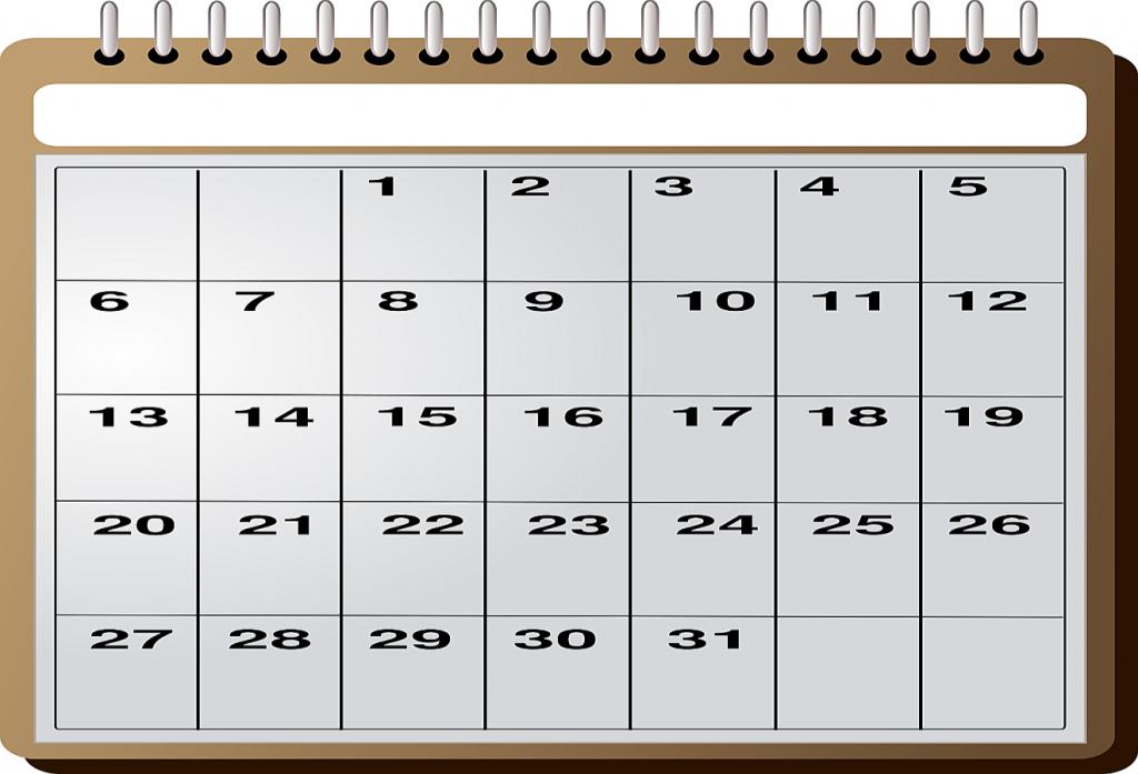 Ein Kalendarium für einen Monat mit 31 Tagen