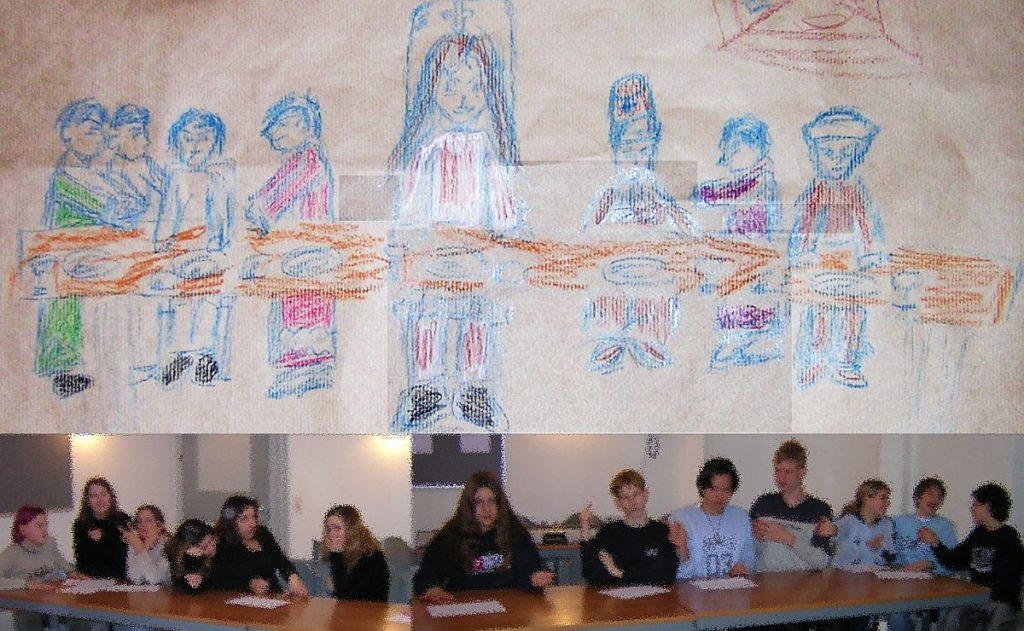 Konfis haben das letzte Abendmahl Jesu mit seinen Jüngern erstens gemalt und zweitens selber dargestellt (nach Leonardo da Vincis Bild)
