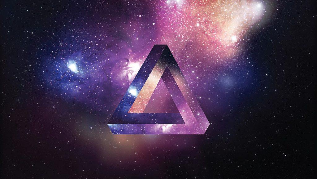 Ein möbius'sches Dreieck vor Galaxien und Sternen des Kosmos