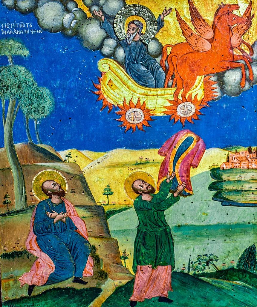 Elisas Vision: er sieht Elia im Feuerwagen in den Himmel fahren - Elisa steht noch ein zweites Mal auf dem Bild mit dem Prophetenmantel, den er auf das Wasser des Jordan schlägt.
