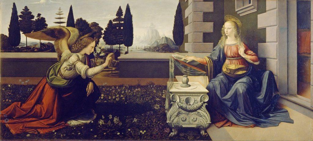 Die Verkündung der Geburt Jesu durch den Engel Gabriel an die Jungfrau Maria (Gemälde: Leonardo da Vinci)