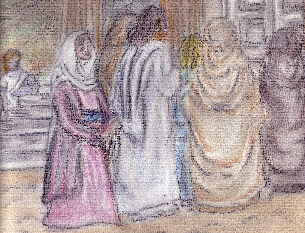 Die blutflüssige Frau berührt Jesu Gewand (Bild: Ingrid Walpert)