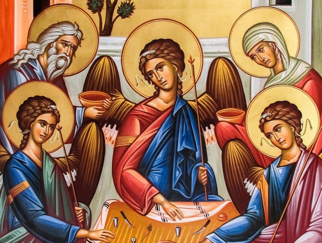 Ikone: Abraham und Sara bewirten drei Engel (Bildausschnitt)