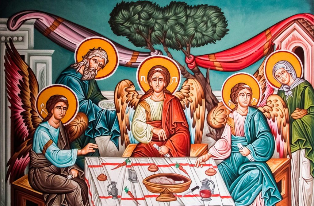 Ikone: Abraham und Sara bewirten drei Engel