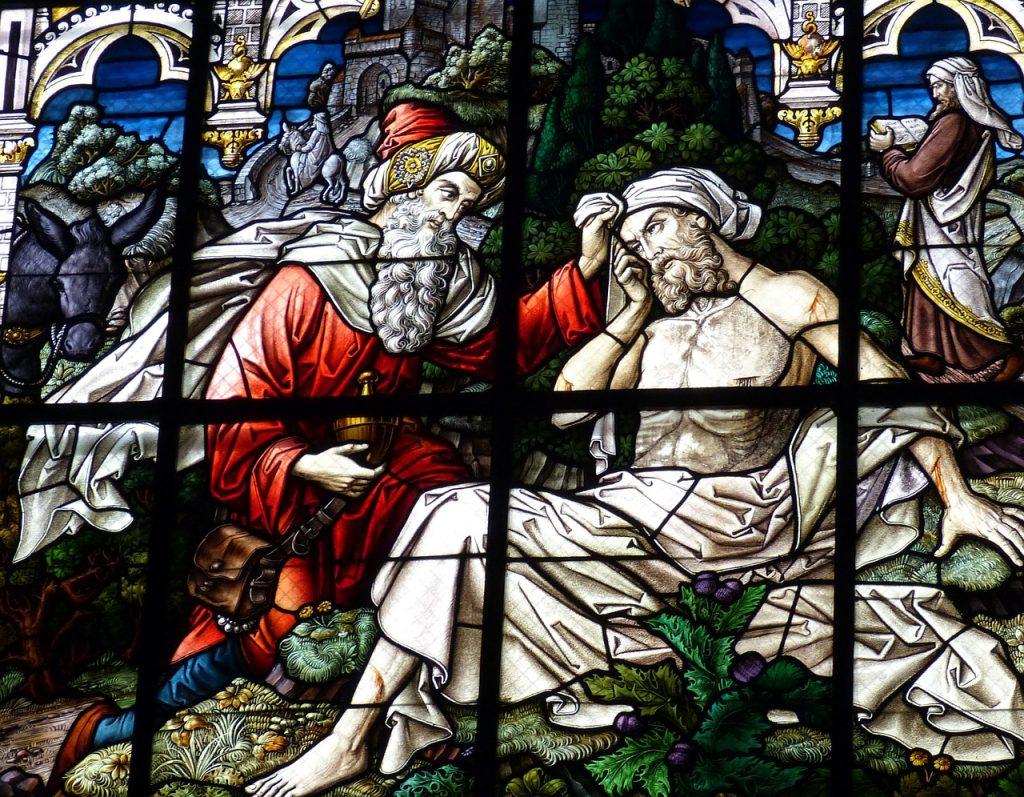 """Kirchenfenster: """"Der Barmherzige Samariter"""""""