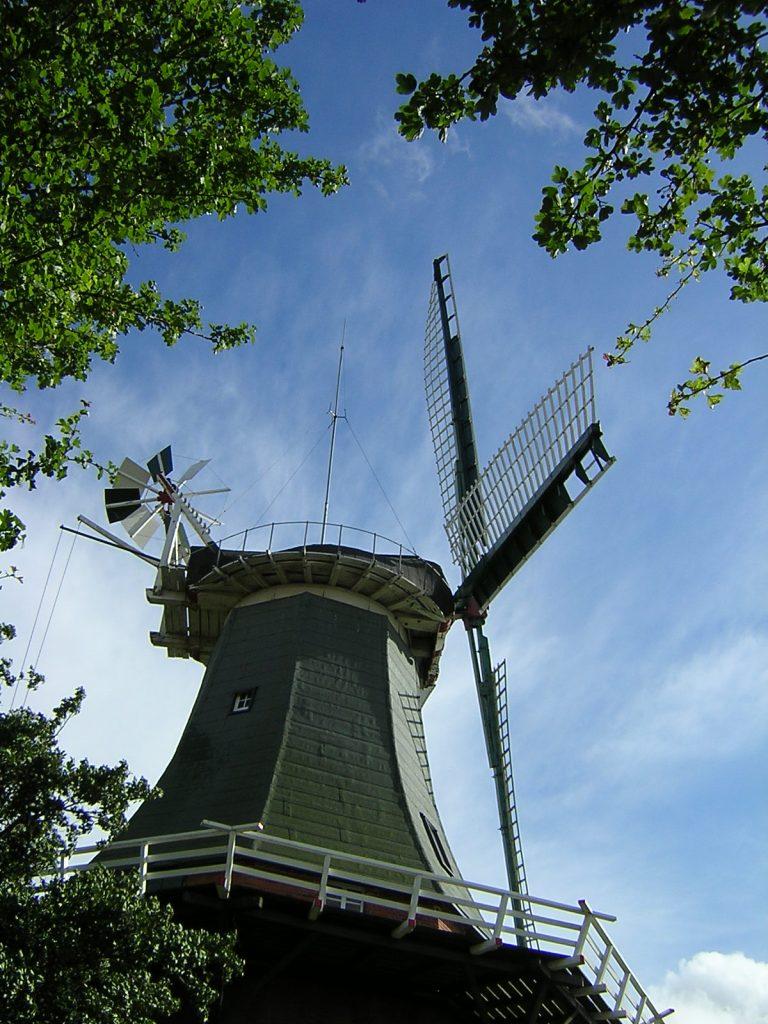 Die Windrose sitzt den großen Mühlenflügeln rechtwinklig genau gegenüber