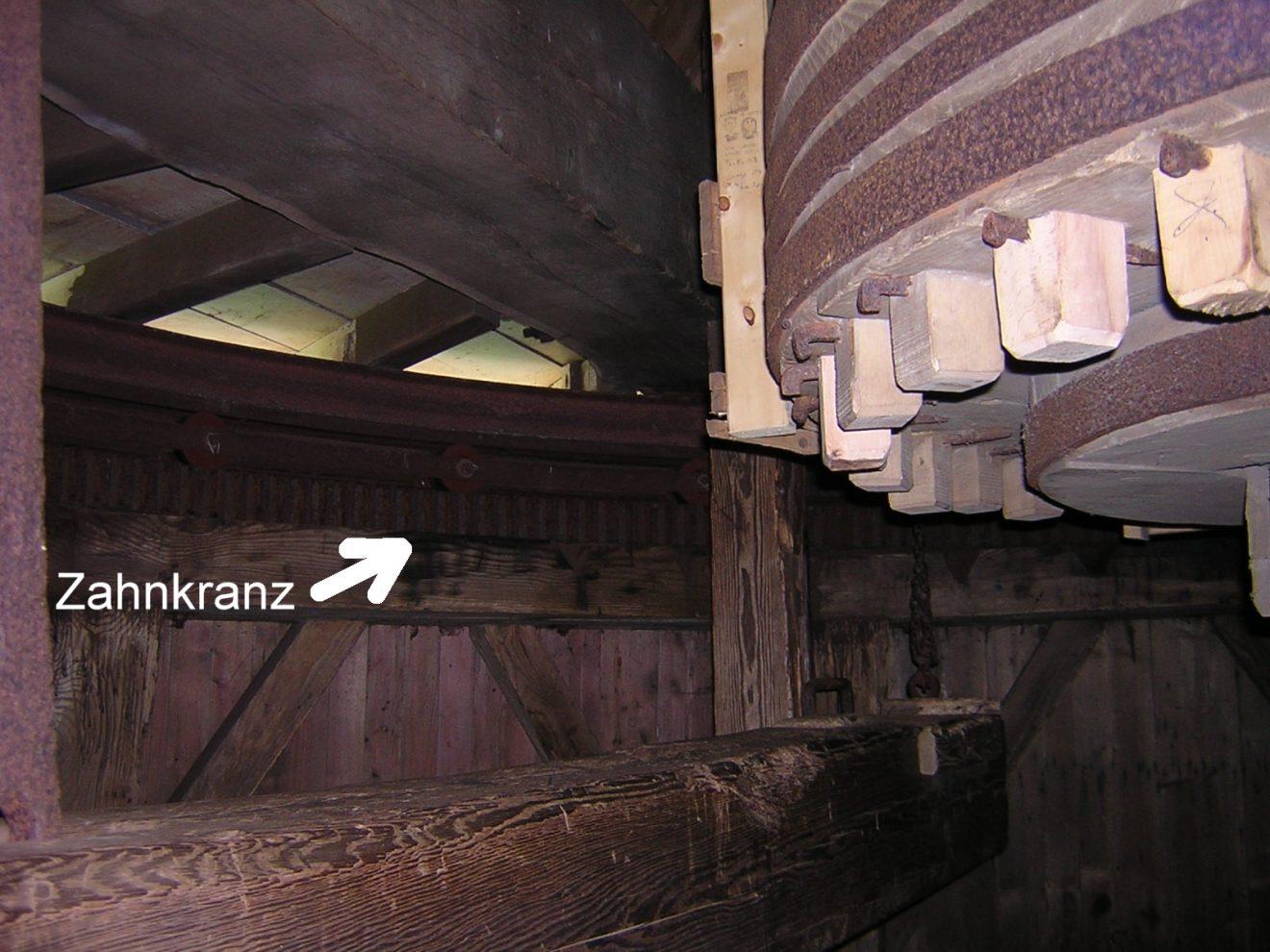 Der Zahnkranz, der von der Windrose bewegt wird und die Mühle in den Wind dreht