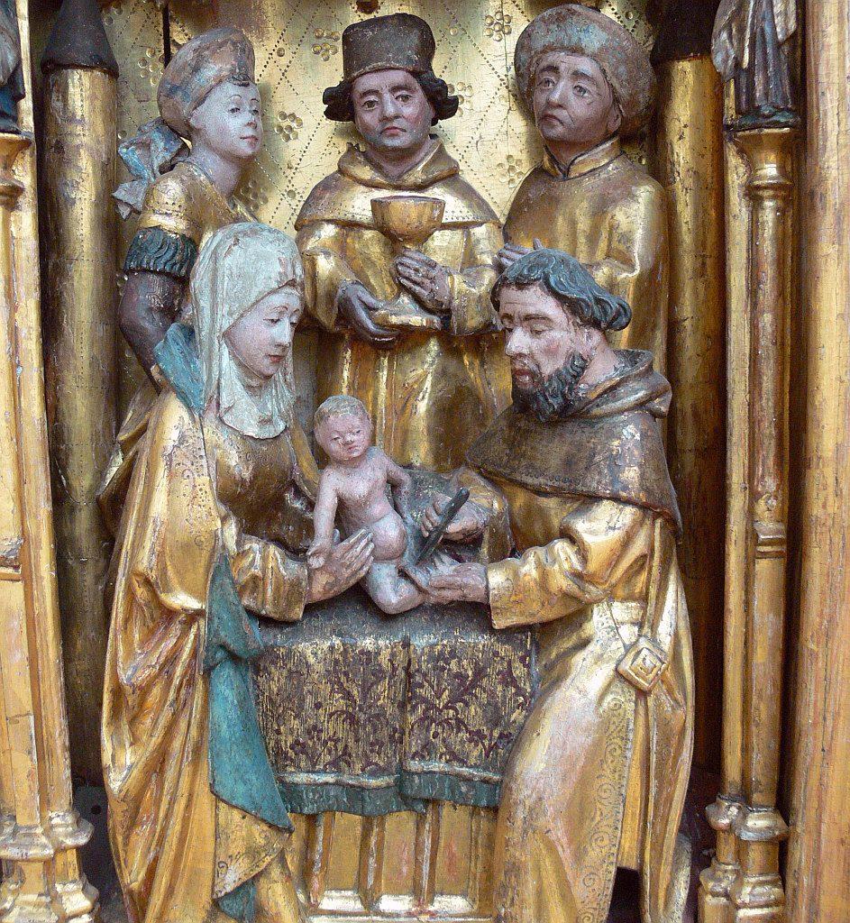 Beschneidung Christi, Szene von einem Flügelretabel mit Darstellungen aus dem Leben Mariens und der Kindheit Jesu, Brabant, um 1480 (aus Mengen, Nord-Brabant)