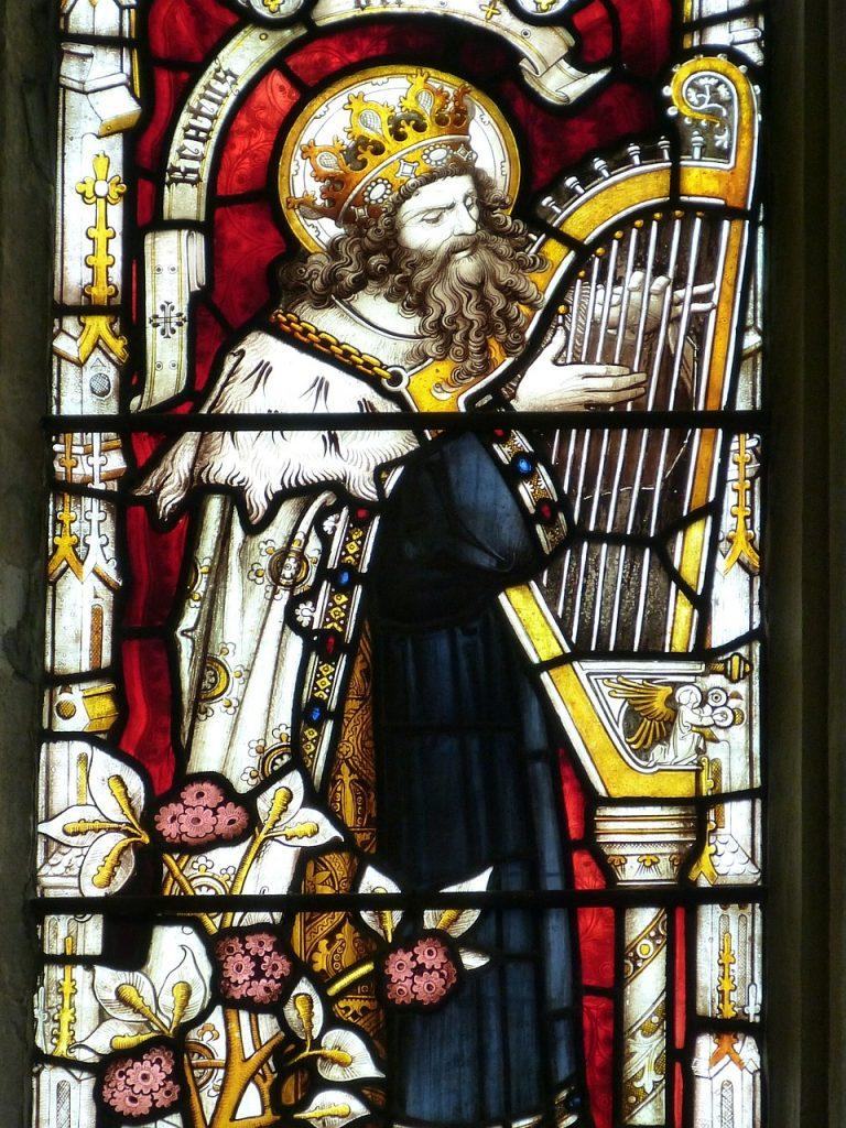 König David spielt seine Harfe