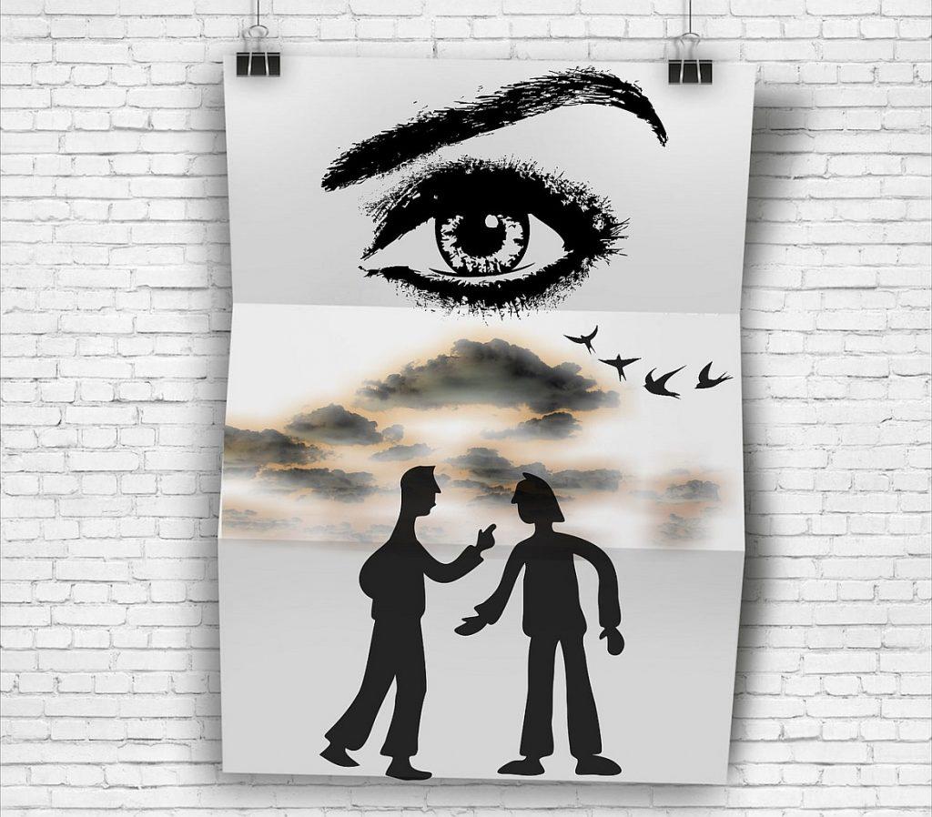 Ein symbolischer Schuldschein, oben ein großes Auge, unten Silhouetten zweier Männer, die voneinander etwas fordern, über den Köpfen der Männer dunkle Wolken und Vögel