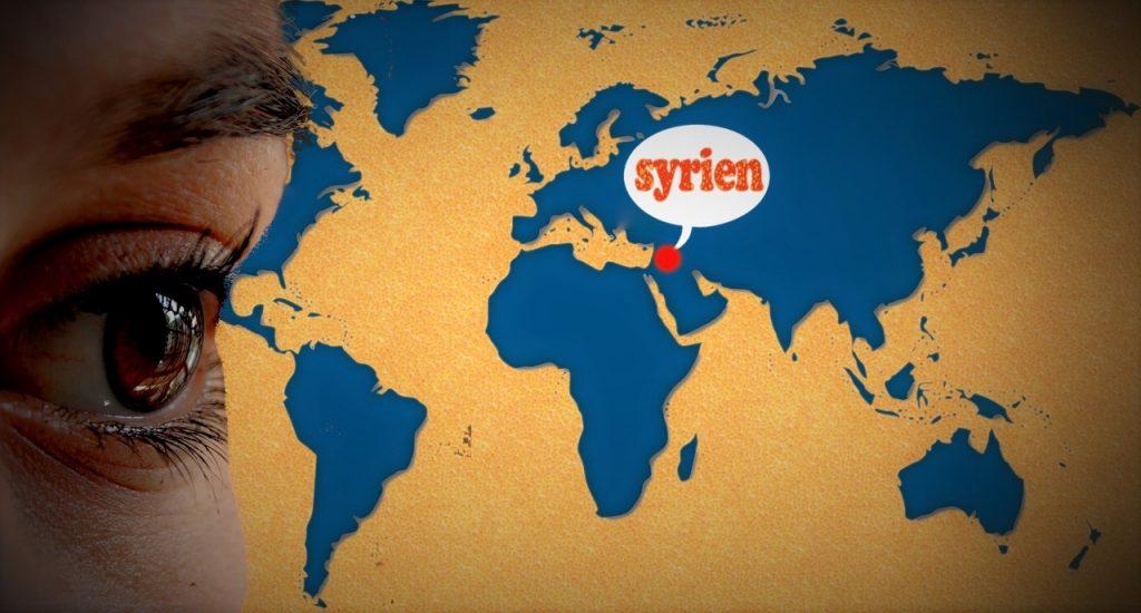 Ein Auge blickt auf die Weltkarte, auf der Syrien mit einem roten Punkt markiert ist