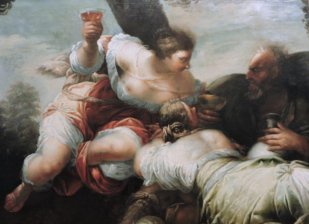 Gemälde: Lots Töchter machen ihren Vater Lot betrunken und verführen ihn