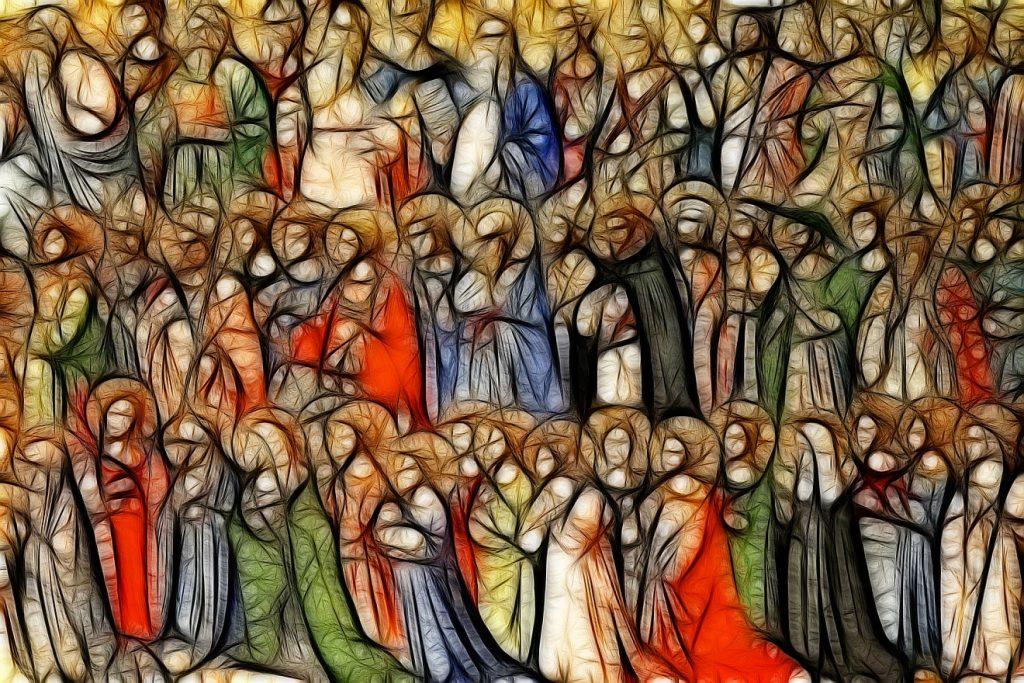 Ein farbenfrohes Bild, auf dem viele Heilige, dicht aneinandergedrängt, in stilisierter Form, zu sehen sind.