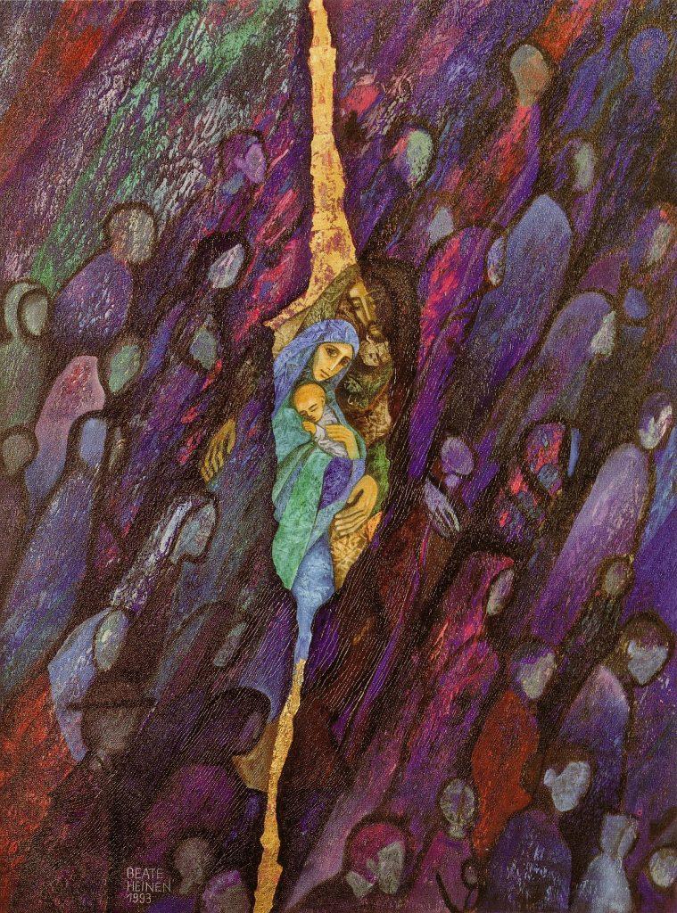 Die heilige Familie erscheint in einem Riss in der Realität, violette Farben herrschen auf diesem Bild vor