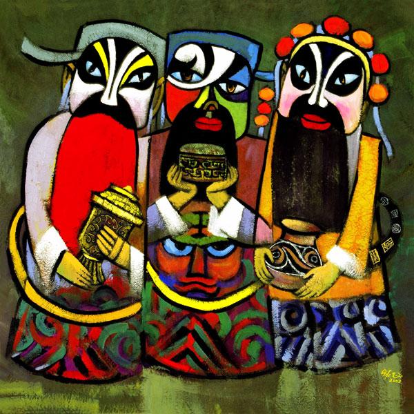 Drei exotisch aussehende Magier, die mit Geschenken nebeneinander stehen