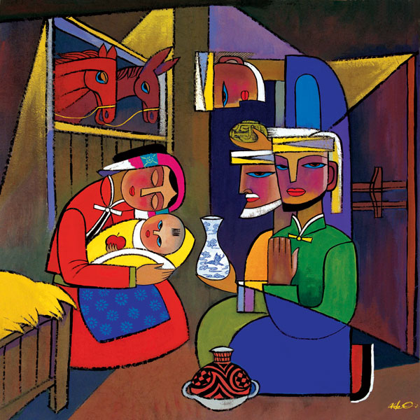 Die Anbetung der Drei Magier vor Maria mit dem Jesuskind, dargestellt auf einem Bild des Künstlers He Qi