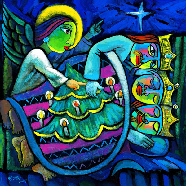 Ein Engel tippt die mit einer Weihnachtsbaumdecke zugedeckten schlafenden Drei Könige mit einem Finger an und weckt sie dadurch auf