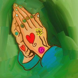 Betende Hände mit Herz-und Blumensymbolen