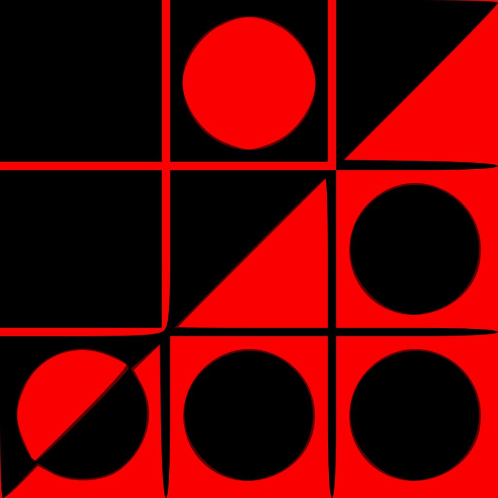 Ein Tic-Tac-Toe-Spielfeld mit roten und schwarzen Kreisen auf schwarzen und roten Feldern.