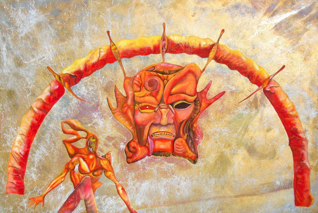 Ein Bogen, unter dem eine dämonische Fratze und ein dahineilender Mann dargestellt sind, alle in gelbroten Farben