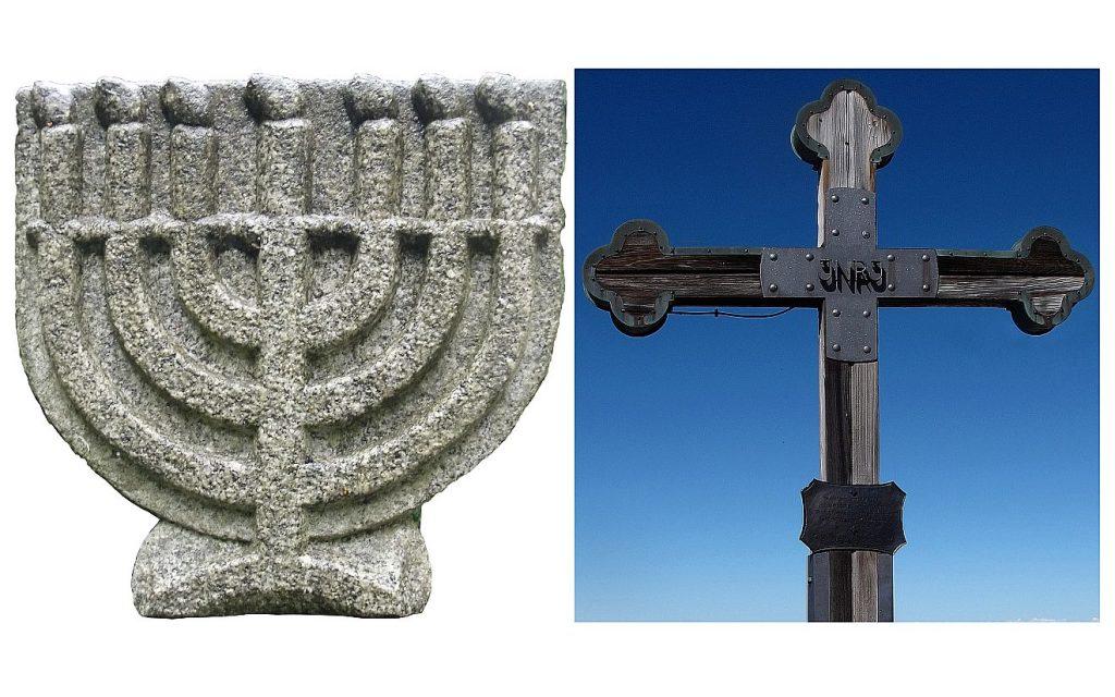 Die jüdische Menora, der siebenarmige Leuchter, und ein Gipfelkreuz der Christen