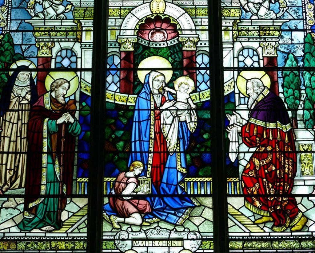 Simeon und Hanna begegnen der heiligen Familie im Tempel