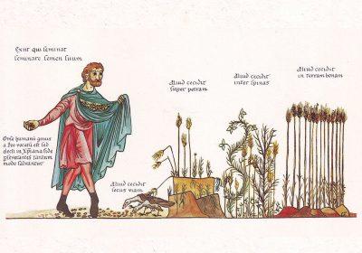 Hortus Deliciarum, Das Gleichnis vom Sämann, circa 1180. By Herrad von Landsberg (Hortus Deliciarum) [Public domain] (via Wikimedia Commons) Dieses Foto wurde von Dnalor_01 erstellt und unter nachfolgend aufgeführter Lizenz veröffentlicht. Das Bild kann frei verwendet werden, solange der Urheber, die Quelle (Wikimedia Commons) und die Lizenz (CC-BY-SA 3.0) unmittelbar beim Bild genannt wird.